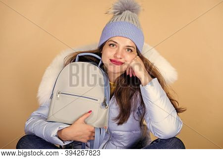 Fashion Accessory. Little Backpack And Knitted Hat. Total Pastel Outfit. Backpack Is All You Need. G