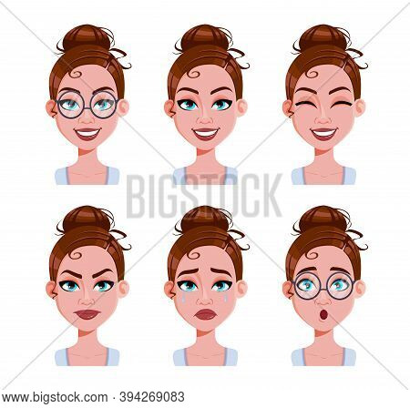 Stock Vector. Face Expressions Of Woman With Brown Hair. Different Female Emotions Set. Beautiful Ca