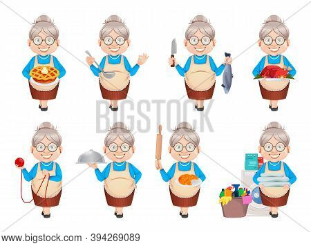 Grandma Cartoon Character, Set Of Eight Poses. 8 March, Happy Grandparents Day. Old Cute Woman. Vect