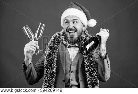 Boss Santa Hat Tinsel Celebrate New Year Or Christmas. Join Christmas Celebration. Christmas Party I