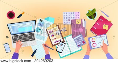 Finance Audit And Business Analysis Vector Flat Lay Illustration With Hands, Laptop, Papers, Tablet.
