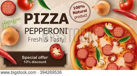 Fresh And Tasty Pepperoni Pizza With Tomatoes, Chilli Peppers, Onions, Basil And Salami Surrounding.