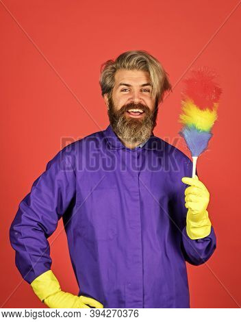 Polypropylene Duster. Hipster Holding Cleaning Tool. Cleaning Home Concept. Small Colorful Duster Br