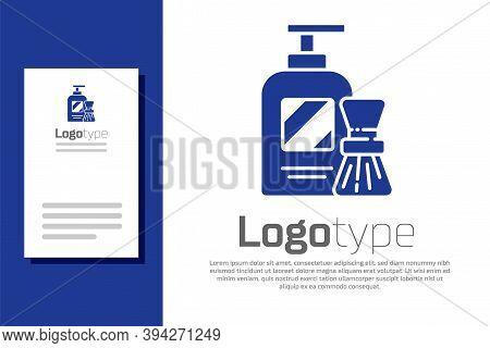 Blue Shaving Gel Foam And Brush Icon Isolated On White Background. Shaving Cream. Logo Design Templa