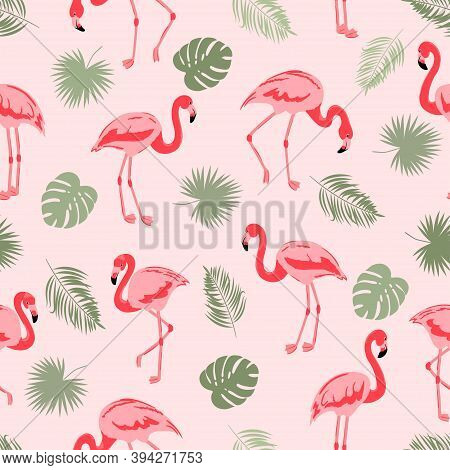 Seamless Flamingo Bird Pattern. Vector Tropical Background With Flamingos And Leaves.