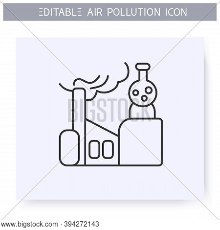 Factorie Chemicals Line Icon.factory Pipe Vaping Toxic Fumes.smog, Biohazard Emissions.greenhouse Ef