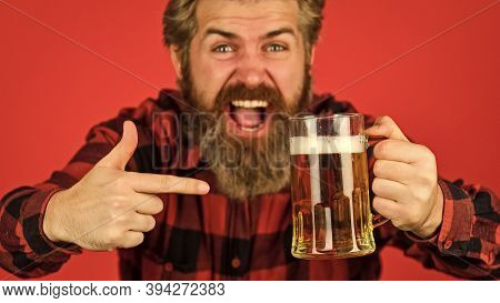 Make Sip. Celebrate With Alcohol. Craftsmanship. Mature Bearded Man Hold Beer Glass. Leisure And Cel
