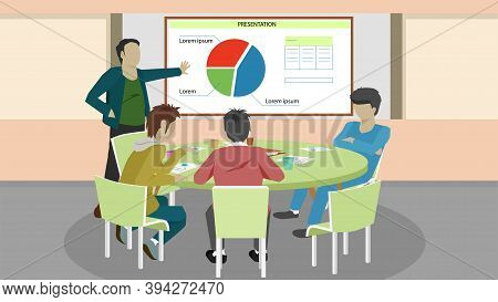 Concept Business Meetings And Presentations.  Men Sat In A Meeting And The Papers Were Placed On The