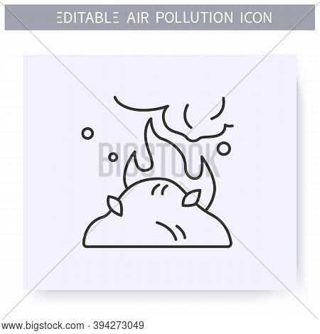Agricultural Emissions Line Icon.incineration Of Agricultural Waste.industrial Smog, Biohazard Emiss