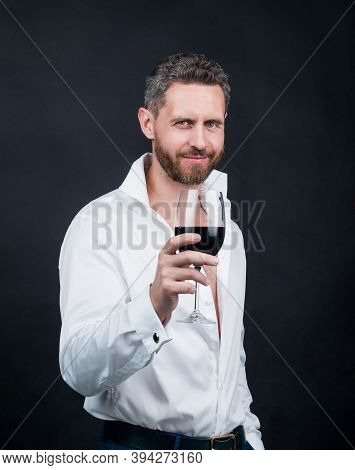 Sexy Handsome Man In White Shirt Hold Glass Of Red Wine, Love Date