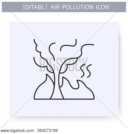 Burning Tree Line Icon.carbon Monoxide And Combustion Products.forest Fire Catastrophe.smoke Cloud.e