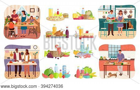 Collection Of People Cooking Meals And Sets Of Food. Couple On Kitchen, Parents With Kids Preparing