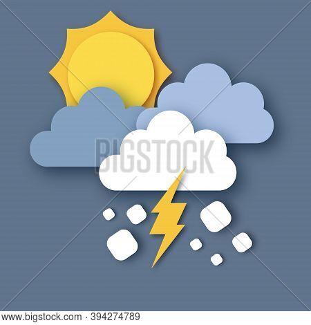 Hail Storm. Sun, Rain Clouds And Lightening Bolt. Paper Cut Weather. Storm Time.