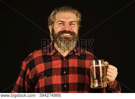 Alcohol Beverage. Modern Hipster Getting Drunk. Thirst Needs Big Cold Beer. Brutal Bearded Man Drink
