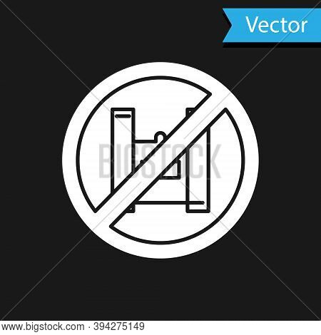 White Say No To Plastic Bags Poster Icon Isolated On Black Background. Disposable Cellophane And Pol
