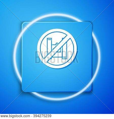 White Say No To Plastic Bags Poster Icon Isolated On Blue Background. Disposable Cellophane And Poly