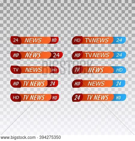 Breaking News Template Title, Tv Channel Live Report Bars, Isolated Icons Vector. Streaming Or Video