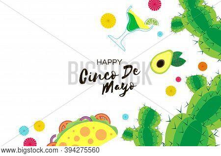 Happy Cinco De Mayo Banner . Origami Fan, Tacos. Coctail. Mexico, Carnival. Space For Text.