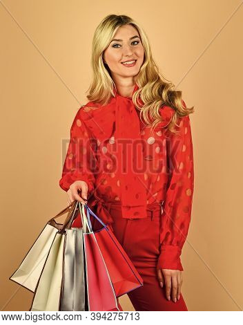 Sell-out On Black Friday. Nice Purchase. Sexy Blonde Carry Shopping Bags. Elegant Girl Shopaholic. S