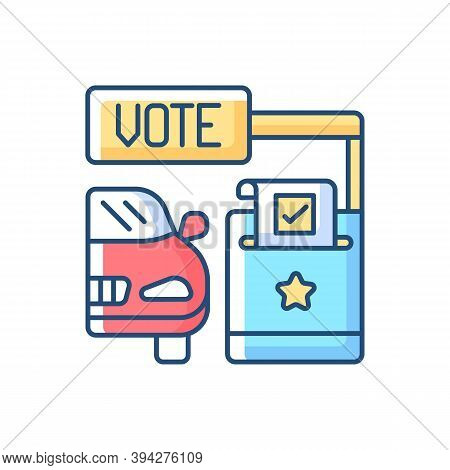 Drive Through Voting Booth Rgb Color Icon. Express Election Service. Polling Station. Driver Voter I