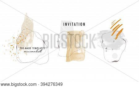 Watercolor Abstract Minimalist Hand Painted Shapes, Vector Illustrations For Wall Decoration, Postca