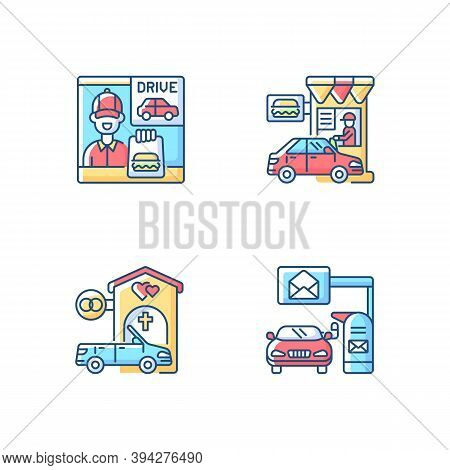 Car In Drive Thru Lane Rgb Color Icons Set. Fast Food Takeaway. Burger For Takeout. Restaurant Windo