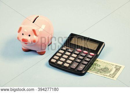 Credit Debt Concept. Economics And Profit Management. Economics And Finance. Piggy Bank Money Saving