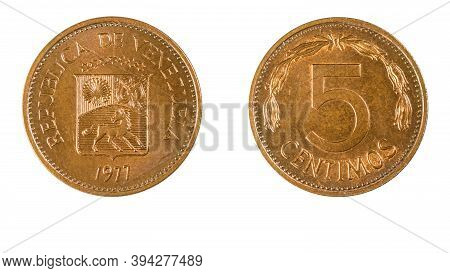 Authentic Venezuelan 5 Centimos Coin Bolivar Currency Year 1977 Obverse And Reverse Side On White Ba