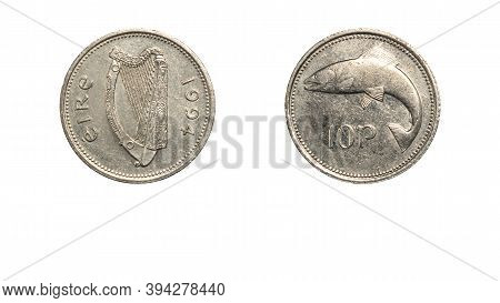 Authentic Irish Coin 10 Pence Year 1994 Obverse And Reverse Side On White Background,macro Close Up