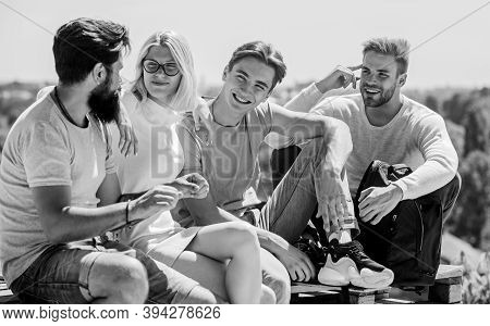 We Are Family. Happy Men And Girl Relax. Group Of People In Casual Wear. Best Friends. Summer Vacati