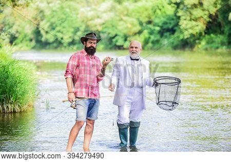 Wonderful Retirement. Businessman Fisher Celebrate Retirement. Idea Attracting Money. Fishermen. Gra