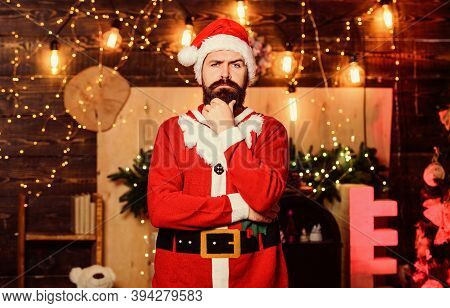Celebration Time. Man Bearded Santa Celebrate Christmas At Home. Winter Carnival. Santa Claus Costum