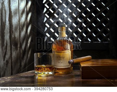 No Logos Or Trademarks!  Self Made Labels! Close Up View Of Cigar, Bottle Of Whiskey And A Glass Asi