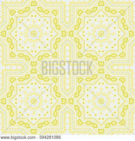 Delicate Portugese Azulejo Tile Seamless Ornament. Ethnic Geometric Vector Motif. Coverlet Print Des