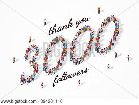 3k Followers. Group Of Business People Are Gathered Together In The Shape Of 3000 Word, For Web Page