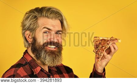 Hungry Man Eating Pizza. Fast Food Delivery. Eating Delicious Cheesy Pizza. Happy Bearded Man Italia
