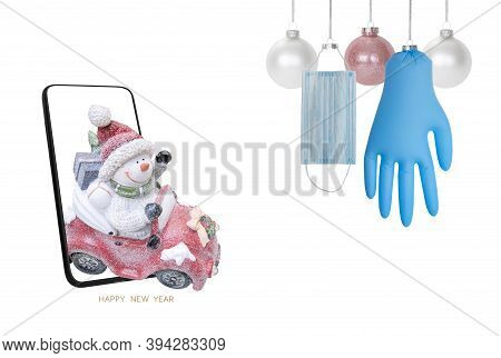 Christmas Decorations, Set Of Hanging Christmas Glass Balls, Medical Mask And Gloves Isolated. New R
