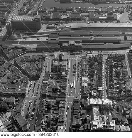 The Hague, Holland, August 29 - 1977: Historical aerial photo  in black and white of t old railway station Hollands Spoor and the PTT, post office building