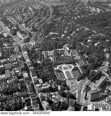 The Hague, Holland, July 4 - 1977: Historical aerial photo in black and white of the Peace Palace which houses the International Court of Justice and gardens