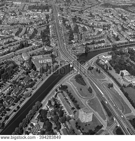 The Hague, Holland, August 29 - 1977: Historical aerial photo  in black and white of the Hoorn Bridge entrance from Delft to The Hague