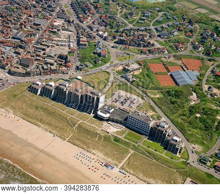 Noordwijk aan Zee, Holland, May 16 - 1986: Historical aerial photo of Grand Hotel Huis ter Duin located on the highest dune of Noordwijk near the beach