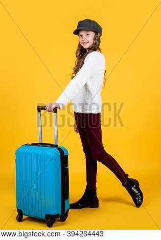 Traveling And Adventure. Trip To Future. Cheerful Child With Travel Bag. Stylish Kid Ready For Trip.