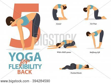 Infographic Of 5 Yoga Poses For Back Flexibility In Flat Design. Beauty Woman Is Doing Exercise For