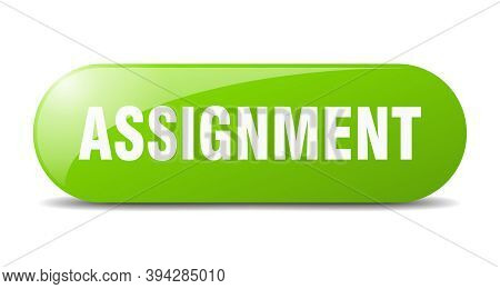 Assignment Button. Sticker. Banner. Rounded Glass Sign