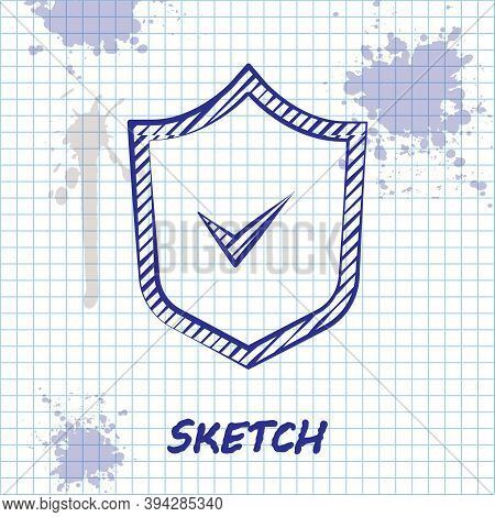 Sketch Line Shield With Check Mark Icon Isolated On White Background. Security, Safety, Protection,