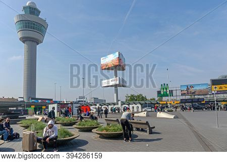 Amsterdam, Netherlands - May 14, 2018: Control Tower At Schiphol Airport In Amsterdam, Holland.