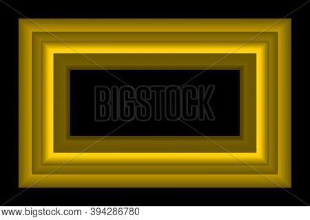 Gold Color Picture Frame With Margin On Black Background Vector Illustration