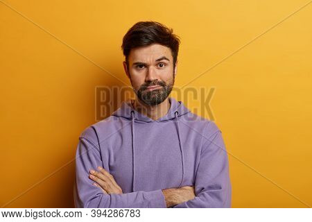 Strict Man Looks With Serious Expression, Waits For Explanations, Keeps Arms Folded, Has Bossy Skept