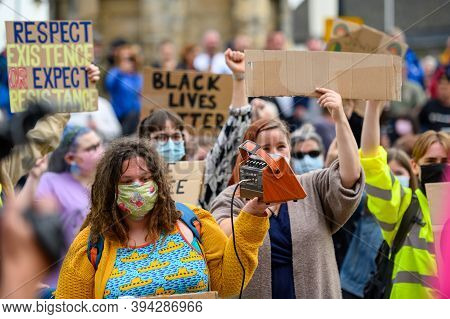 Richmond, North Yorkshire, Uk - June 14, 2020: British Blm Protesters Wear Ppe Face Masks And Hold H