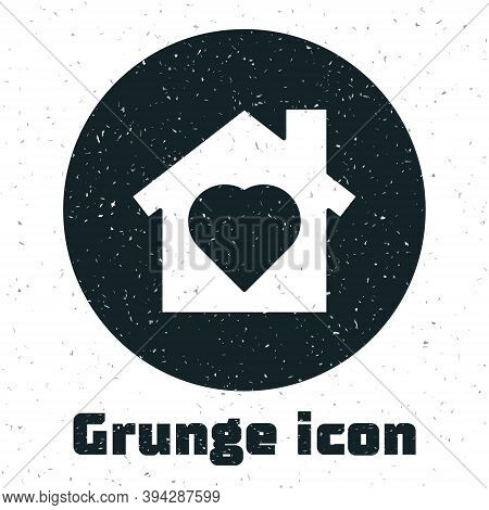 Grunge House With Heart Inside Icon Isolated On White Background. Love Home Symbol. Family, Real Est